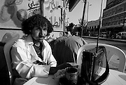 Morning Kat, coffee and a radio station for breakfast. Portrait of a gentlemen in San'a.