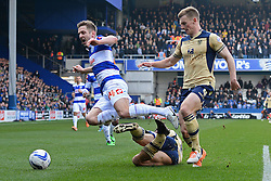 QPR's Kevin Doyle is fouled - Photo mandatory by-line: Mitchell Gunn/JMP - Tel: Mobile: 07966 386802 01/03/2014 - SPORT - FOOTBALL - Loftus Road - London - Queens Park Rangers v Leeds United - Championship