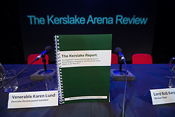 © Licensed to London News Pictures. 27/03/2018. Salford, UK. The Kerslake Report in to the terrorist bombing of an Ariana Grande concert at the Manchester Arena on 22nd May 2017 , ordered by Greater Manchester Metro Mayor Andy Burnham , is published at a press conference at the University of Salford , at Media City . Amongst praise for many connected with the events, the report also highlights failings in communication at Greater Manchester Fire and Rescue on the night and disreputable behaviour by some sections of the media in the aftermath of the attack . Photo credit: Joel Goodman/LNP