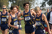 Nov 9, 2018; Sacramento, CA, USA; Garrett Corcoran (121) , Steven Khan (124), Andrew Burkhardt (120) and Ryan Peck (126) of California react after the men's race during the NCAA West Regional at Haggin Oaks Golf Course.