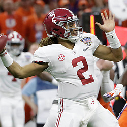 Jan 1, 2018; New Orleans, LA, USA; Alabama Crimson Tide quarterback Jalen Hurts (2) passes the ball during the second quarter against the Clemson Tigers in the 2018 Sugar Bowl college football playoff semifinal game at Mercedes-Benz Superdome. Mandatory Credit: Derick E. Hingle-USA TODAY Sports