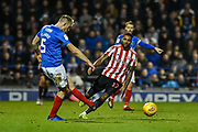 Sunderland Jerome Sinclair (17) closes down Portsmouth Defender, Matt Clarke (5) during the EFL Sky Bet League 1 match between Portsmouth and Sunderland at Fratton Park, Portsmouth, England on 22 December 2018.