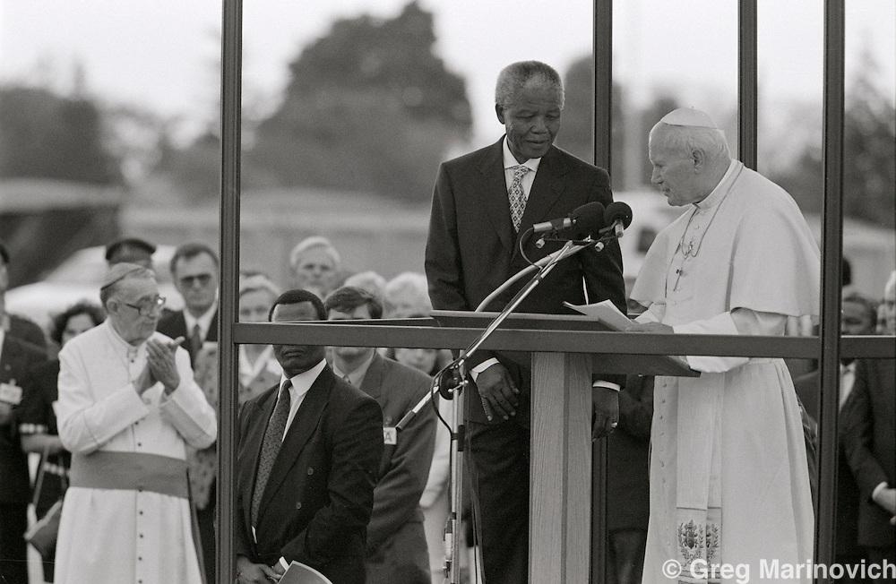 Nelson Mandela Mandela with Pope John Paul II on his pastoral visit in September 1995.