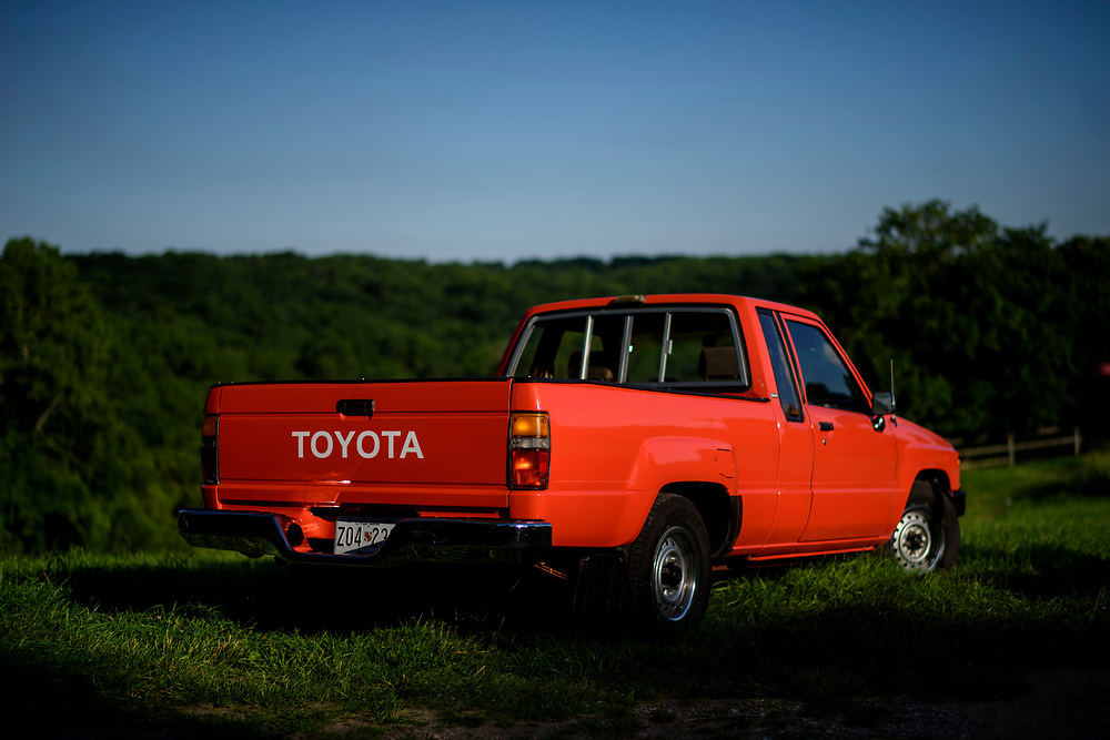 Cockeysville, Maryland - June 08, 2017: 1984 Toyota Pickup. Orange.<br /> <br /> CREDIT: Matt Roth