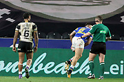 Leeds Rhinos centre Joel Moon (6) scores a try during the Betfred Super League match between Hull FC and Leeds Rhinos at Kingston Communications Stadium, Hull, United Kingdom on 19 April 2018. Picture by Mick Atkins.