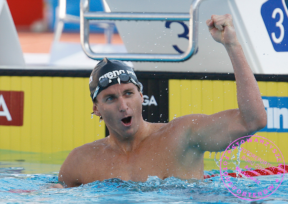 ROME 31/07/2009.13th Fina World Championships.Aaron Peirsol of the U.S. celebrates after winning and setting a world record in the men's 200m backstroke swimming final at the World Championships ..photo: Piotr Hawalej / WROFOTO