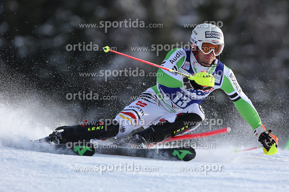 06.01.2014, Stelvio, Bormio, ITA, FIS Weltcup Ski Alpin, Bormio, Slalom, Herren, im Bild Fritz Dopfer // Fritz Dopfer  in action during mens Slalom of the Bormio FIS Ski World Cup at the Stelvio in Bormio, Italy on 2014/01/06. EXPA Pictures © 2014, PhotoCredit: EXPA/ Sammy Minkoff<br /> <br /> *****ATTENTION - OUT of GER*****