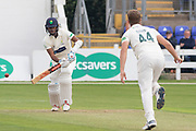 Will Davis bowling to Kraigg Brathwaite during the Specsavers County Champ Div 2 match between Glamorgan County Cricket Club and Leicestershire County Cricket Club at the SWALEC Stadium, Cardiff, United Kingdom on 16 September 2019.