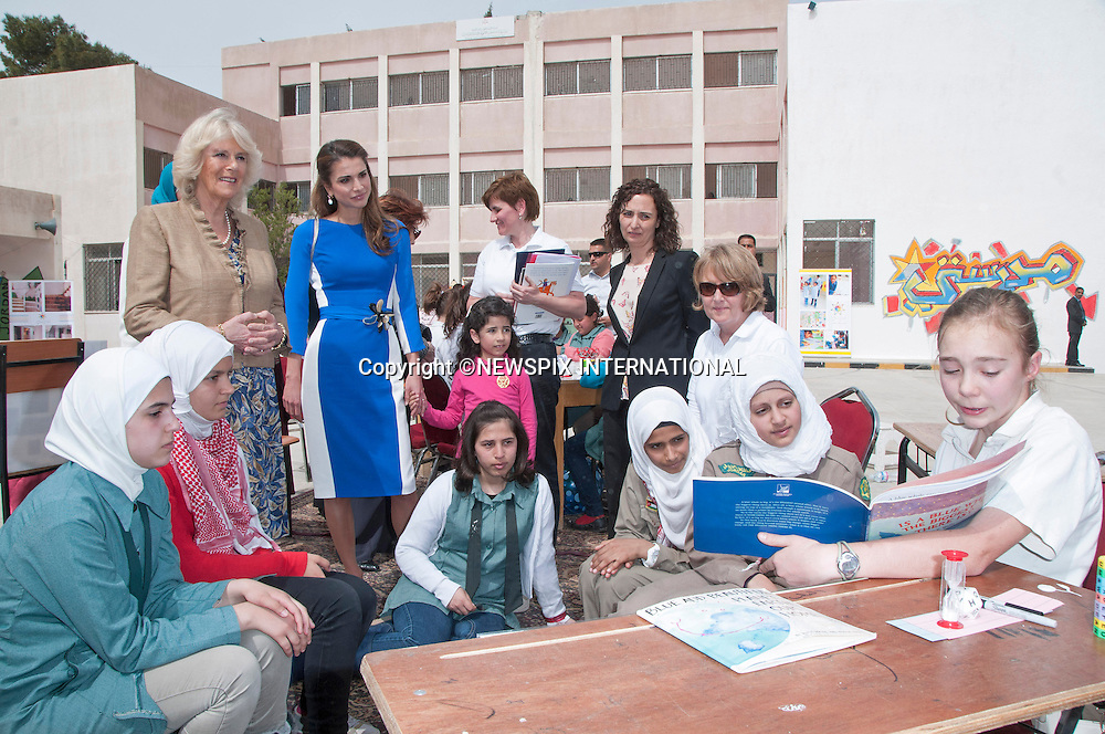 "CAMIILA, DUCHESS OF CORNWALL AND QUEEN RANIA.visit Mahes Secondary School for Girls, Amman_12/03/2013.The Royal couple are on a tour of four Middle Eastern countries..Mandatory credit photo:©DiasImages/NEWSPIX INTERNATIONAL..**ALL FEES PAYABLE TO: ""NEWSPIX INTERNATIONAL""**..PHOTO CREDIT MANDATORY!!: NEWSPIX INTERNATIONAL(Failure to credit will incur a surcharge of 100% of reproduction fees)..IMMEDIATE CONFIRMATION OF USAGE REQUIRED:.Newspix International, 31 Chinnery Hill, Bishop's Stortford, ENGLAND CM23 3PS.Tel:+441279 324672  ; Fax: +441279656877.Mobile:  0777568 1153.e-mail: info@newspixinternational.co.uk"