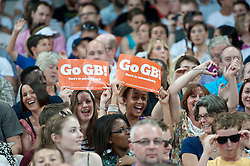 © Licensed to London News Pictures. 26/07/2013. London, United Kingdom. Fans cheer Great Britain at the IAAF Diamond League Sainsbury's Anniversary Games 2013. Photo credit : Justin Setterfield/LNP