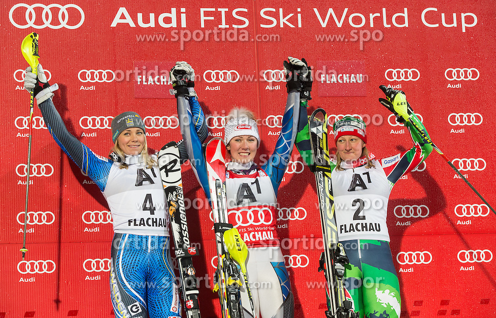 15.01.2013, Hermann Maier Weltcupstrecke, Flachau, AUT, FIS Weltcup Ski Alpin, Slalom, Damen, Podium, im Bild v.l.n.r. Tanja Poutiainen (FIN/ 2. Platz), Mikaela Shiffrin (USA/ 1. Platz), Tanja Poutiainen (FIN, 3. Platz) // f.l.t.r. 2nd place Tanja Poutiainen of Finland, 1st place Mikaela Shiffrin of the USA, 3th place Tanja Poutiainen of Finland celebrate on podium during ladies Slalom of the FIS Ski Alpine World Cup at the Hermann Maier World Cup trackside, Flachau, Austria on 2013/01/15. EXPA Pictures © 2013, PhotoCredit: EXPA/ Johann Groder