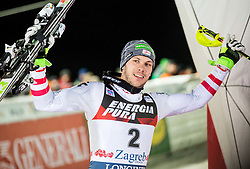 """Second placed Michael Matt (AUT) celebrates at Trophy ceremony after the 2nd Run of FIS Alpine Ski World Cup 2017/18 Men's Slalom race named """"Snow Queen Trophy 2018"""", on January 4, 2018 in Course Crveni Spust at Sljeme hill, Zagreb, Croatia. Photo by Vid Ponikvar / Sportida"""
