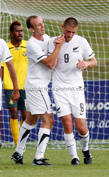 NZ's Greg Draper (right) celebrates his goal with Michael Eager. OFC Men's Olympic Qualifier New Zealand 2012 Semi Final, New Zealand v Vanuatu, Owen Delany Park Taupo, Friday 23rd March 2012. Photo: Shane Wenzlick