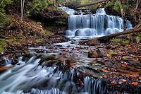 A short trail leads to Wagner Falls near Munising Michigan.