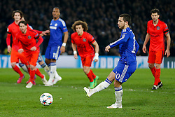 Eden Hazard of Chelsea scores a goal from the penalty spot to make it 2-1 - Photo mandatory by-line: Rogan Thomson/JMP - 07966 386802 - 11/03/2015 - SPORT - FOOTBALL - London, England - Stamford Bridge - Chelsea v Paris Saint-Germain - UEFA Champions League Round of 16 Second Leg.