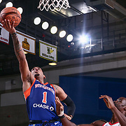 Westchester Knicks Guard XAVIER RATHAN-MAYES (1) drive to the basket from the lay up in the first half of a NBA G-league regular season basketball game between the Delaware 87ers and the Westchester Knicks (New York Knicks) Tuesday, Nov. 07, 2017, at The Bob Carpenter Sports Convocation Center in Newark, DEL