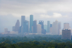 Houston, Texas skyline during stormy weather.
