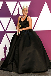 "Lady Gaga, winner of the Best Original Song Award for ""Shallow"" in ""A Star Is Born"" at the 91st Annual Academy Awards (Oscars) presented by the Academy of Motion Picture Arts and Sciences.<br />