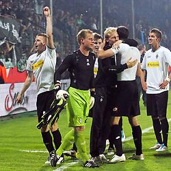 25.05.2011, rewirpowerstadion, Bochum, GER, 1.FBL, Vfl Bochum vs Borussia Moenchengladbach, Relegation Rueckspiel, im Bild: Marco Reus (Gladbach) und ter Stegen (2L) feiern EXPA Pictures © 2011, PhotoCredit: EXPA/ nph/  Mueller       ****** out of GER / SWE / CRO  / BEL ******