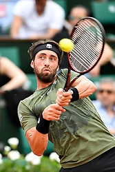 PARIS, June 2, 2017  Nikoloz Basilashvili of Georgia returns the ball to Rafael Nadal of Spain during the men's singles 3rd round match at the French Open Tennis Tournament 2017 in Paris, France on June 2, 2017. (Credit Image: © Chen Yichen/Xinhua via ZUMA Wire)