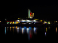 A long exposure shot of The Imperial War Museum North at Night.
