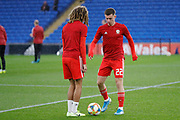 Wales midfielder Joe Morrell warming up during the Friendly match between Wales and Belarus at the Cardiff City Stadium, Cardiff, Wales on 9 September 2019.