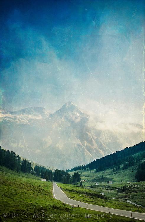 Road to Spluegen Pass with view of Suretta - textured photograph