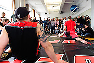 "NEW YORK, NEW YORK, MARCH 25, 2010: Shane Carwin (left) watches as Dan Hardy stretches during the media open work-out sessions for ""UFC 111: St. Pierre vs. Hardy"" at Peak Performance Strength and Conditioning Center in Manhattan on March 25, 2010."