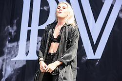 © Licensed to London News Pictures. 26/08/2017. Reading Festival 2017, Reading, UK. PVRIS perform on the main stage.   Lynn Gunn pictured  Photo credit: Andy Sturmey/LNP