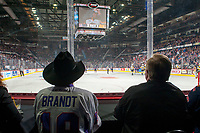 REGINA, SK - MAY 25: Country singer Paul Brandt sits at ice level watching the Regina Pats take on the Hamilton Bulldogs in the semi final at the Brandt Centre on May 25, 2018 in Regina, Canada. (Photo by Marissa Baecker/CHL Images)