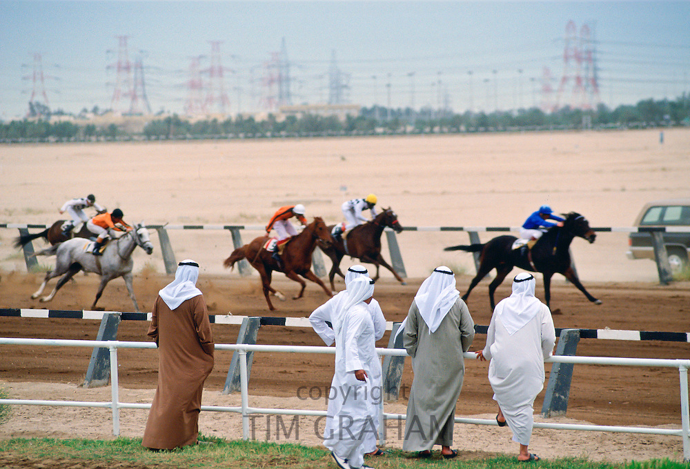 Men watching horse racing, Abu Dhabi RESERVED USE - NOT FOR DOWNLOAD -  FOR USE CONTACT TIM GRAHAM