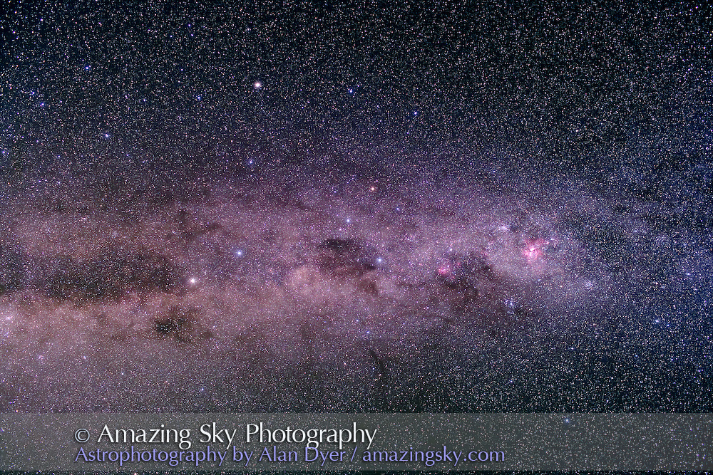 Carina-Crux Area. Taken with Canon 35mm L-series lens at f/4 and Hutech-modified Canon 5D camera at ISO 400 for stack of 3 x 6 minute exposures. Taken from South Pacific Star Party, near Ilford, NSW, Australia, April 13, 2007.
