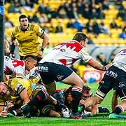 On the line during the Super rugby (Round 12) match played between Hurricanes  v Lions, at Westpac Stadium, Wellington, New Zealand, on 5 May 2018.  Hurricanes won 28-19.