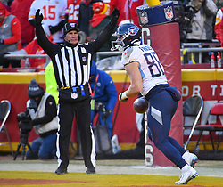 Jan 19, 2020; Kansas City, Missouri, USA;  Tennessee Titans tight end Anthony Firkser (86) scores a touchdown during the AFC Championship Game against the Kansas City Chiefs at Arrowhead Stadium. Mandatory Credit: Denny Medley-USA TODAY Sports