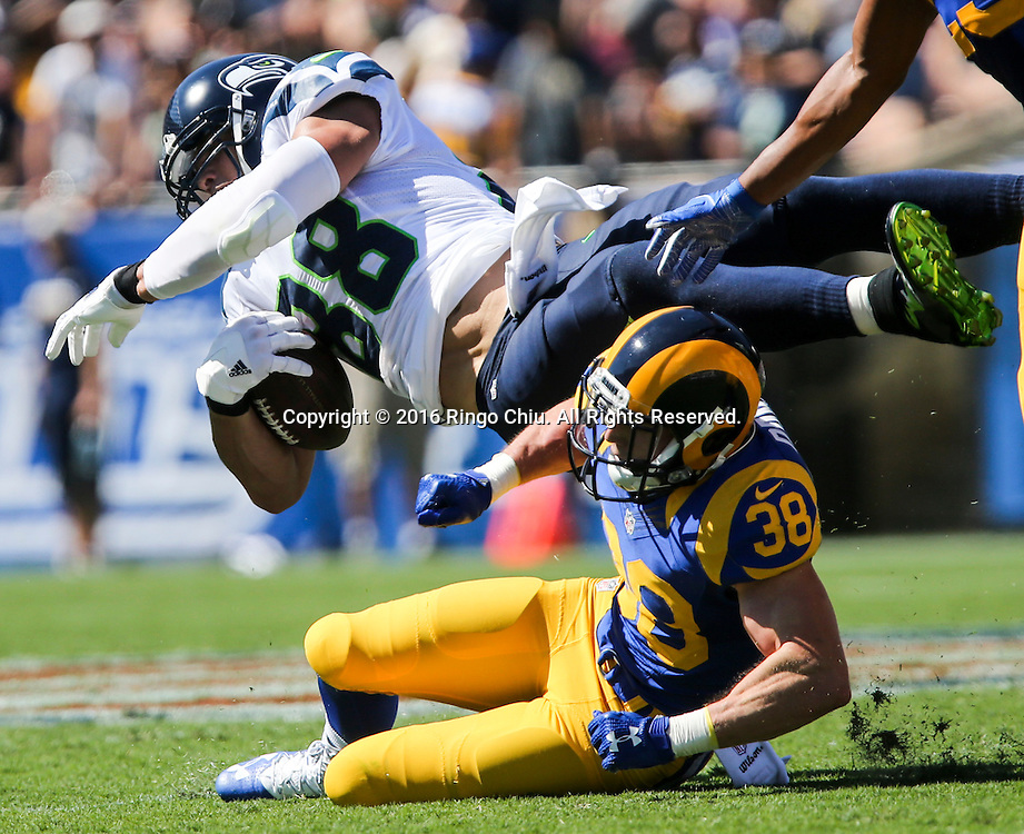 Seattle Seahawks tight end Jimmy Graham (88) is tackled by Los Angeles Rams strong safety Cody Davis(38) during a NFL football game, Sunday, Sept. 18, 2016, in Los Angeles. The Rams won 9-3. (Photo by Ringo Chiu/PHOTOFORMULA.com)<br /> <br /> Usage Notes: This content is intended for editorial use only. For other uses, additional clearances may be required.