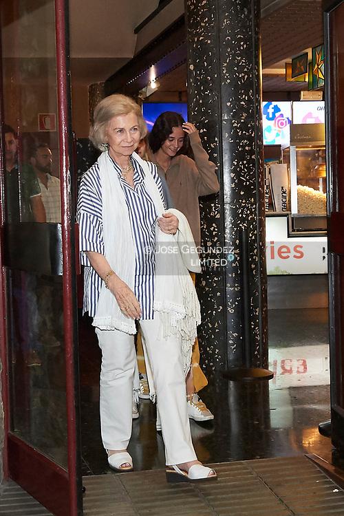 Queen Sofia of Spain, Victoria Federica de Marichalar, Irene Urdangarin leave the Rivoli Cinema after watching The Lion King on July 30, 2019 in Palma, Spain