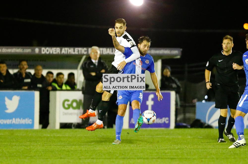 Dover's midfielder Nick Deverdics (17) and Eastleigh's midfielder Josh Payne (8). Dover Athletic v Eastleigh. Vanarama National League. 10  November 2015. (c) Matt Bristow | SportPix.org.uk
