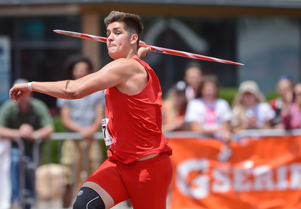 mkb051317q/sports/Marla Brose --  Albuquerque Academy's Jackson Morris competes in the javelin finals  during NMAA State Track & Field Championships, Saturday, May 13, 2017, in Albuquerque, N.M. He won the event.  (Marla Brose/Albuquerque Journal)