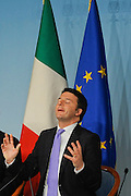 Italian Prime Minister Matteo Renzi during a press conference about economic issues today in Palazzo Chigi, government building.<br /> &copy;Giuseppe Giglia