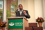 Ohio University President, Roderick McDavis addresses the attendees of the Ohio University Residential Housing Phase 1 opening ceremony event began on Saturday, August 29, 2015 at the Living Learning Center on the Ohio University campus in Athens, Ohio. The Sowle family were honored as one of the four new residences halls was bestowed with their family name.
