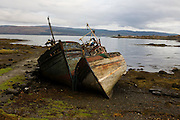 Wrecked fishing boats beached on shore at Salen, Isle of Mull. Salen (Scottish Gaelic: An t-Sàilean) is a settlement on the Isle of Mull, Scotland. It is on the east coast of the island, on the Sound of Mull, approximately halfway between Craignure and Tobermory. The full name of the settlement is 'Sàilean Dubh Chaluim Chille' (the black little bay of St Columba).