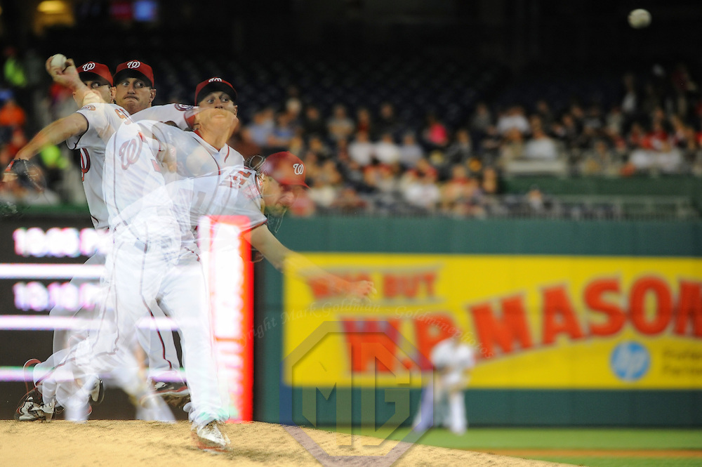 11 April 2016:  Washington Nationals starting pitcher Max Scherzer (31) pitches in an in camera multiple exposure against the Atlanta Braves at Nationals Park in Washington, D.C. (Photograph by Mark Goldman/Icon Sportswire)