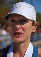 3 OCT. 2010 -- ST. CHARLES, Mo. -- Marathon finisher Julie Bergfeld (5824) after finishing the Lewis & Clark Marathon and Half-Marathon in St. Charles, Mo. Sunday Oct. 3, 2010. Image © copyright 2010 Sid Hastings.