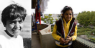 Lacramioara Gangal in 1995 when she was 10 outside the orphanage in Popricani and in 2009 on the balcony of her room in a flat in Iasi. She worked in a clothes factory and was paying frequent visits to her friends from the orphanage in Popricani.