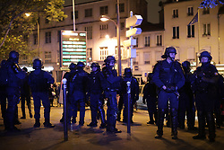 © Licensed to London News Pictures . 07/05/2017 . Paris , France . Protests against the election and electoral sytem in Ménilmontant , Paris . Emmanuel Macron's En Marche has defeated Marine Le Pen's Front National in the French election. Photo credit: Joel Goodman/LNP