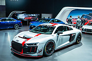 New York, NY - 12 April 2017. The Audi R8 LMS GT4, which was announced on April 11, 2017, in advance of the NY Auto Show, boasts a 5.2L, 495 hp V-10 gasoline engine, longitudinally mounted in front of the rear axle. It will go from 0 to100 km/h under 4 seconds, with a top speed over 250km/h, and is marketed as a consumer racing car.