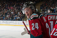 KELOWNA, CANADA - OCTOBER 25: Tyson Baillie #24 of Kelowna Rockets trash talks the Brandon Wheat Kings bench on October 25, 2014 at Prospera Place in Kelowna, British Columbia, Canada.  (Photo by Marissa Baecker/Shoot the Breeze)  *** Local Caption *** Tyson Baillie;