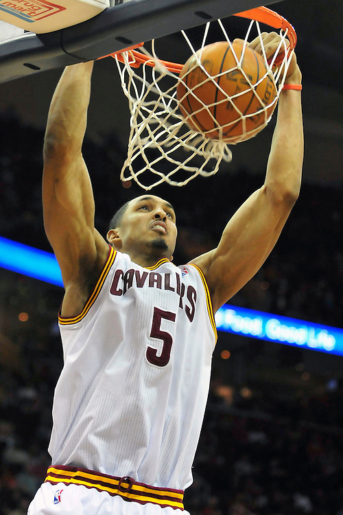 April 13, 2011; Cleveland, OH, USA; Cleveland Cavaliers center Ryan Hollins (5) dunks during the second quarter against the Washington Wizards at Quicken Loans Arena. Mandatory Credit: Jason Miller-US PRESSWIRE