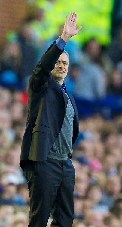 LIVERPOOL, ENGLAND - Saturday, September 14, 2013: Chelsea's manager Jose Mourinho during the Premiership match against Everton at Goodison Park. (Pic by David Rawcliffe/Propaganda)