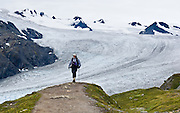 "A hiker explores the Exit Glacier, which flows from the Harding Icefield in the Kenai Mountains of Alaska, USA. The only road into Kenai Fjords National Park is a spur of the Seward Highway to Exit Glacier, one of the most visited glaciers in Alaska. It was named after the exit of the first recorded crossing of Harding Icefield in 1968. Hike trails to the glacier terminus or up to Harding Icefield. From 1815-1999, the Exit Glacier in Alaska retreated 6549 feet, melting an average of 35 feet per year (according to www.nps.gov/kefj/). Over the past 50 years, Alaska's winters have warmed by 6.3°F (3.5°C) and its annual average temperature has increased 3.4°F (2.0°C) (Karl et al. 2009). Alaska has warmed more than twice as fast as the continental United States. Since the industrial revolution began, humans have increased atmospheric carbon dioxide concentration by 35% through burning fossil fuels, deforesting land, and grazing livestock. An overwhelming consensus of climate scientists agree that global warming is indeed happening and humans are contributing to it through emission of greenhouse gases (primarily carbon dioxide). The UN Intergovernmental Panel on Climate Change (IPCC, 2007) says ""Warming of the climate system is unequivocal, as is now evident from observations of increases in global average air and ocean temperatures, widespread melting of snow and ice and rising global average sea level. There is very high confidence that the net effect of human activities since 1750 has been one of warming."""